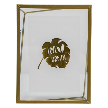 porta retrato love dream vidro metal dourado 20x15x3cm