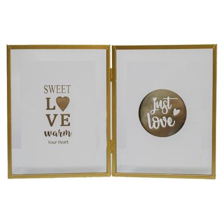 porta retrato sweet love duplo vidro metal dourado 35x44x3cm