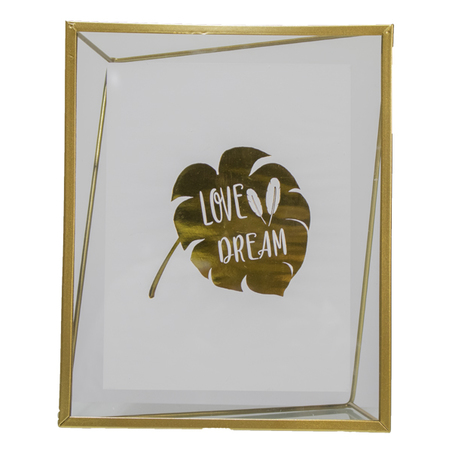 porta retrato love dream vidro metal dourado 25x20x3cm