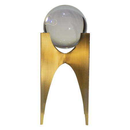 escultura bola de cristal metal dourado 23x11x11cm