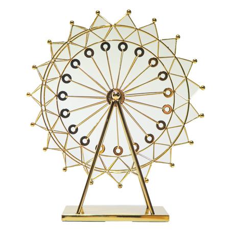 escultura roda gigante metal dourada 51x45x15cm