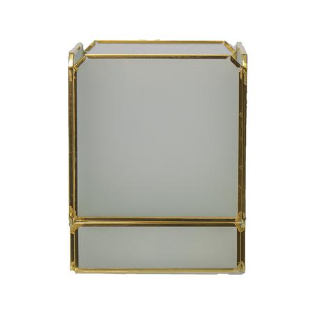 caixa vidro metal branco e dourado 13,5x10x10cm