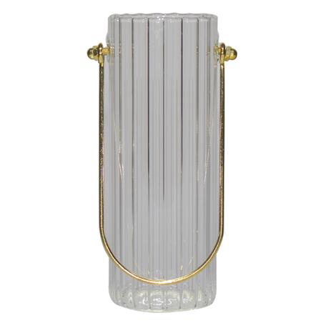 vaso pendente vidro canaletado pequeno incolor 14x6,5x6,5cm