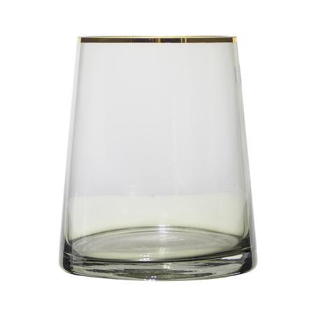 vaso vidro redondo pequeno fumê filete dourado 16x14x14cm