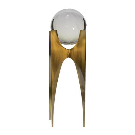 escultura bola de cristal pequena metal dourado 28x11x11cm