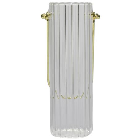 vaso pendente vidro canaletado grande incolor 20x6,5x6,5cm