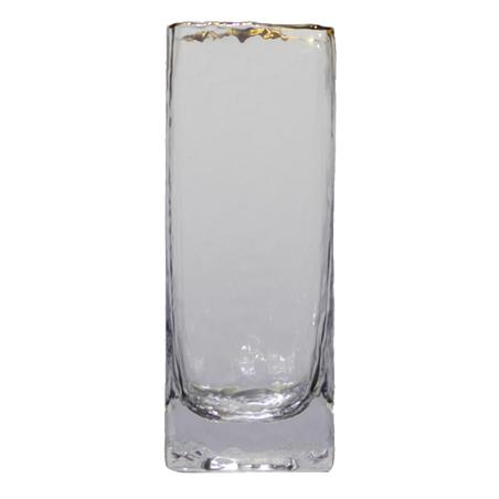 vaso de vidro quadrado pequeno filete dourado 20x8x8cm