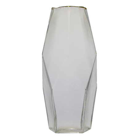 vaso vidro quadrado geométrico filete dourado 28x7,5x7,5cm