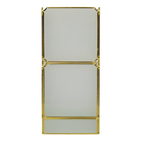 caixa vidro metal branco e dourado 23x10x10cm