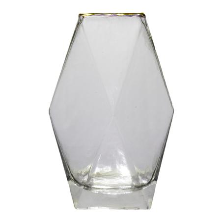 vaso vidro quadrado geométrico filete dourado 20x6,5x6,5cm