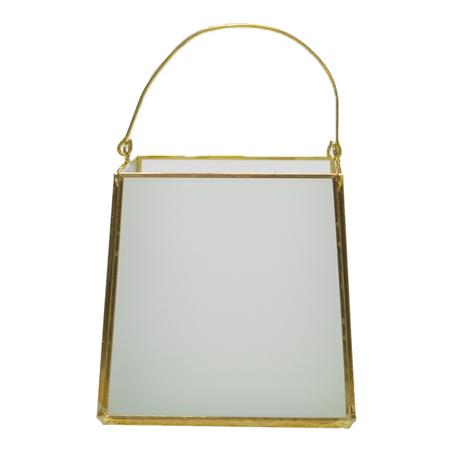 caixa vidro metal branco dourado 12x11x11cm