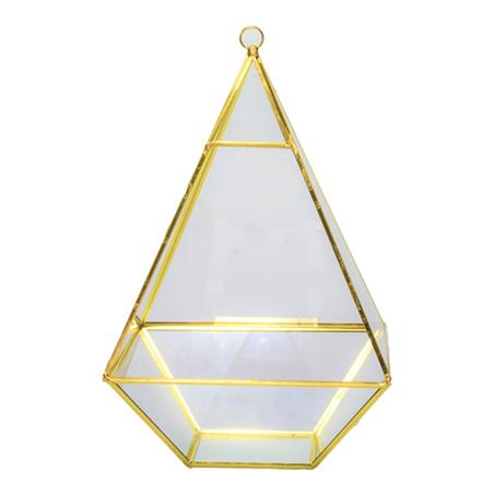 pirâmide metal vidro dourado 27x16,5x16,5cm