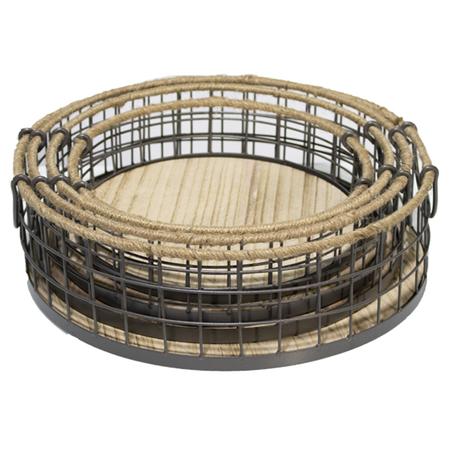 cesto redondo metal e madeirapreto conjunto 4 peÇas