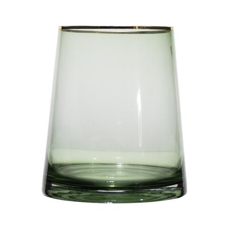 vaso vidro redondo grande verde filete dourado 20x18x18cm