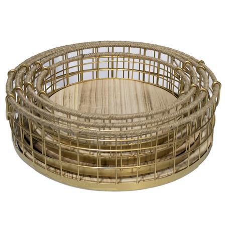 cesto redondo metal e madeiradourado conjunto 4 peÇas