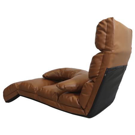 poltrona de chao reclinavel pu marrom 180x57x16cm