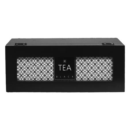 caixa de chÁs tea black preta9x25x9,5cm
