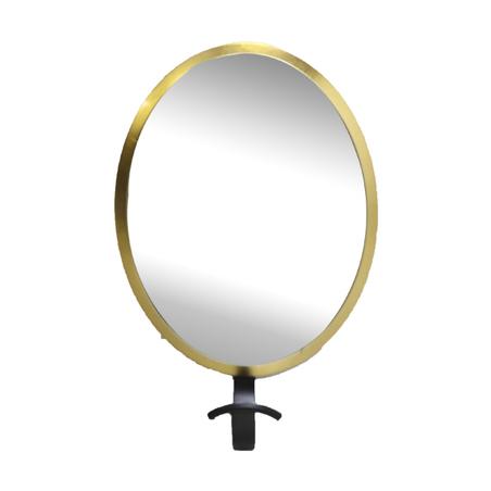 gancheira espelho oval dourada 28x19x8cm