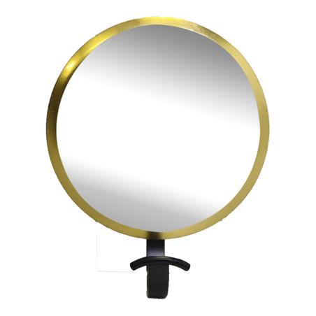 gancheira espelho redonda dourada 23x19x8cm