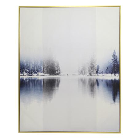 tela impressa c/ mold paisagem lago inverno 150x120x3.5cm