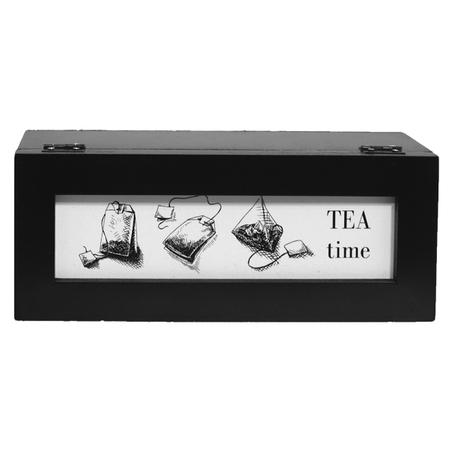 caixa de chÁs tea time preta 9x25x9,5cm