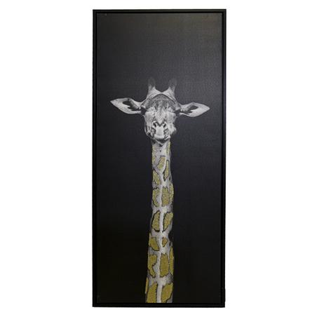 tela impressa c/ mold girafa olhando gliter 120x50x4.5cm