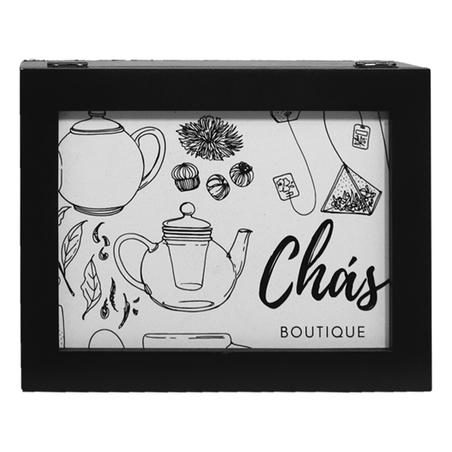 caixa de chÁs chÁs boutique preta 9x25x28cm
