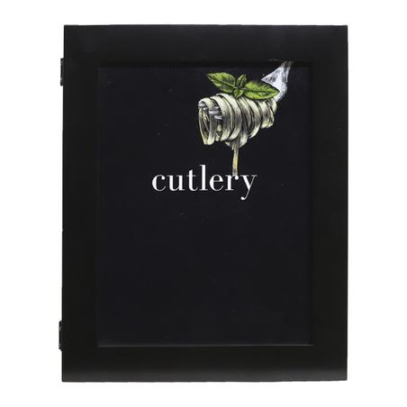 caixa de talheres cutlry preta 9x25x19,5cm