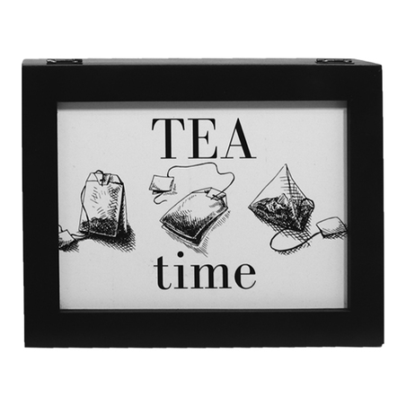 caixa de chÁs tea time preta 9x25x19,5cm