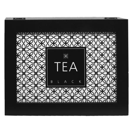 caixa de chÁs tea black preta9x25x19,5cm