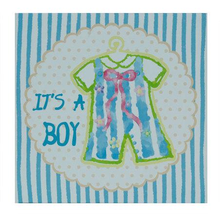 tela impressa it's a boy  20x20x4cm