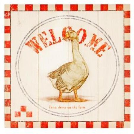 -tela impressa welcome duck28x28x4cm