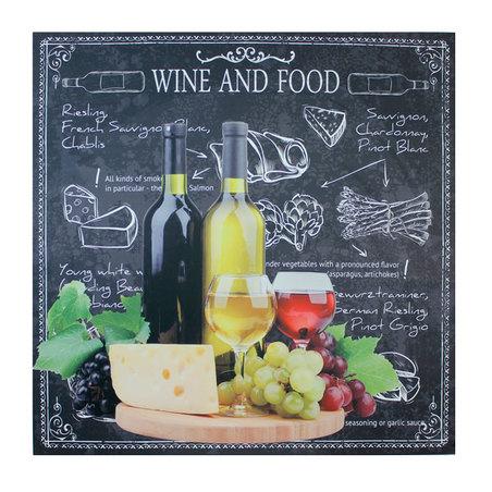 tela impressa wine and foodcheese  100x100x4cm