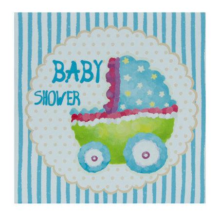tela impressa baby shower blue  20x20x4cm