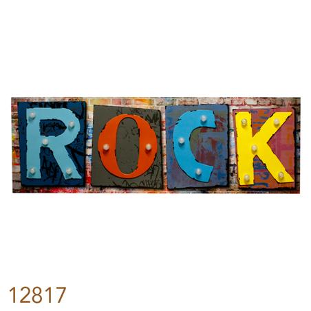 tela impressa c metal led rock 40x120x5,5cm