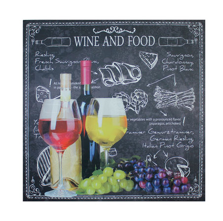 tela impressa wine and food 100x100x4cm