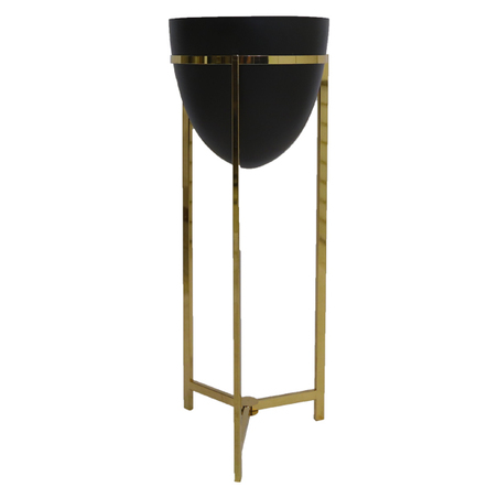 vaso preto metal com suporte dourado 108x43x43cv