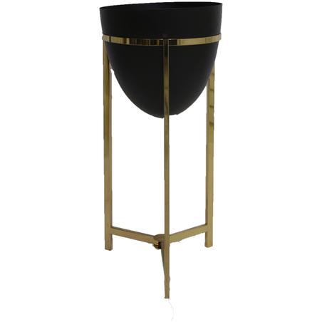 vaso preto metal com suporte dourado 58x43x43cv