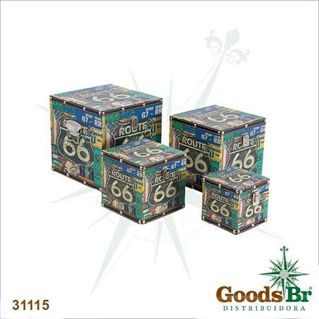 caixas cj 4pc route 66 placas 24x24x24cm