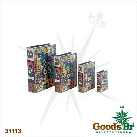 -book box cj 4pc route 66 placas  37x27x8cm