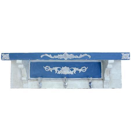 -prateleira azul/branca com 3 ganchos  35x107x21cm