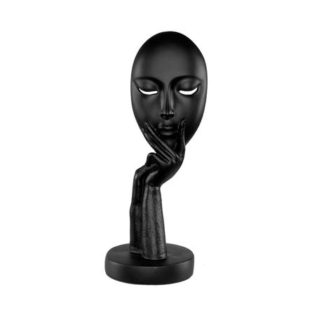 escultura rosto resina preta pequena 29x11x11cm