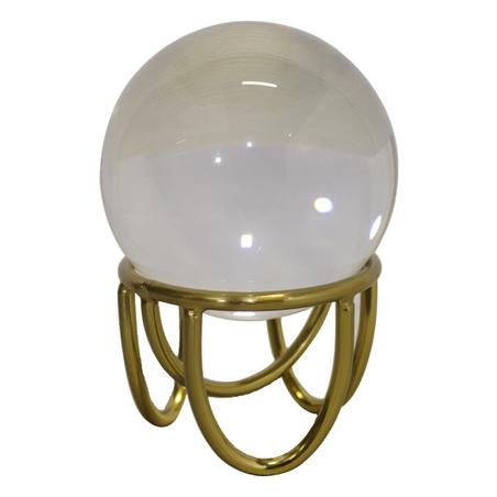 escultura bola de cristal metal dourado 15x10x10cm