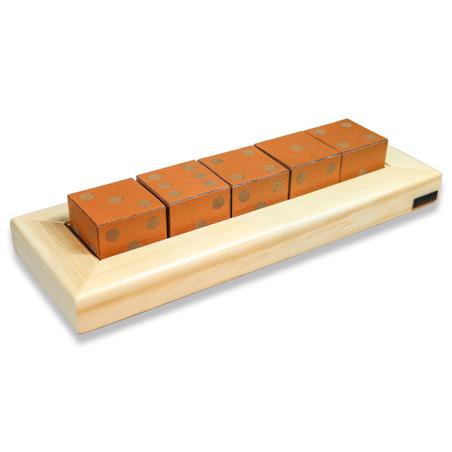 Jogo de 5 Dados madeira Natural E RECOURO CARAMELO 38,5x14x7
