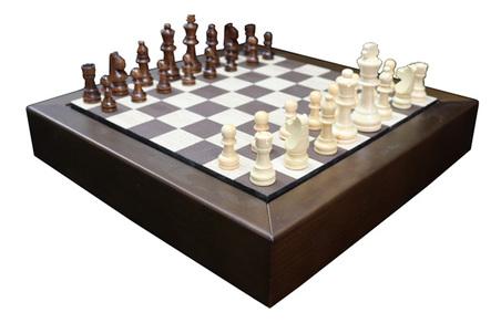 jogo xadrez  madeira nogueirae recouro cafÉ 48x48x7cm