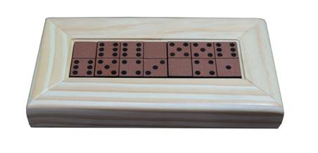 Jogo de Dominó madeira Natural E RECOURO CARAMELO 25,5X13X4