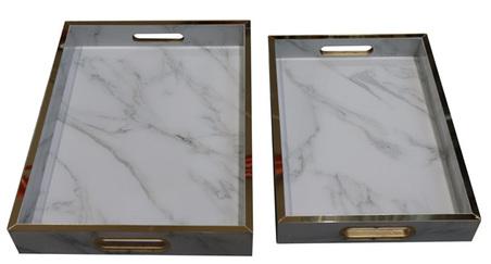 bandeja mdf fundo cor pedra mármore branco conjunto 2 peÇas