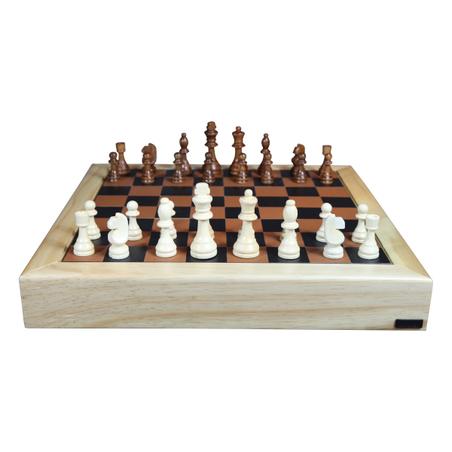 Jogo Xadrez  madeira Natural e RECOURO CARAMELO 48X48X7CM