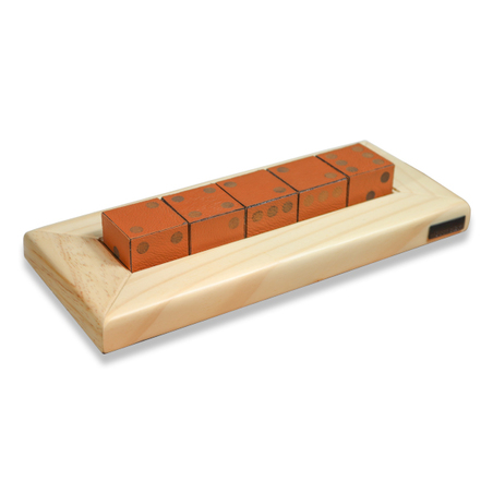 Jogo de 5 Dados madeira Natural E RECOURO CARAMELO 29X4,5X12