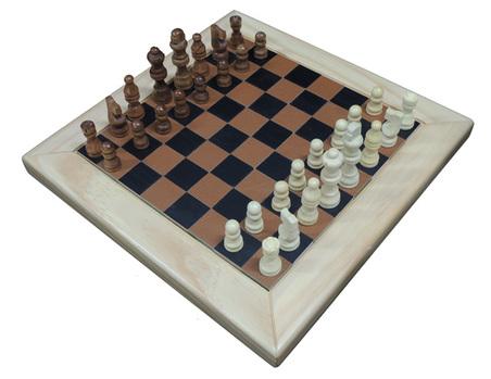Jogo Xadrez  madeira Natural eRECOURO CARAMELO 32X32X2,5CM